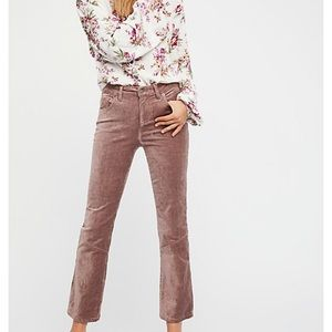 Free People velvet crop flare pants in taupe